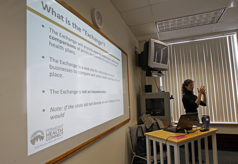 Lindsey Tucker, deputy commissioner of the Department of Vermont Health Access, speaks to a group to explain Vermont's health care exchange program in Newport, Vt. The state is setting up the new exchange under the Affordable Care Act.