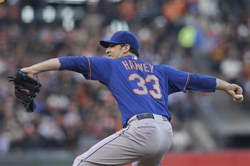 New York Mets pitcher Matt Harvey throws against the San Francisco Giants during the second inning of a baseball game in San Francisco, Monday, July 8, 2013. AT&T Park