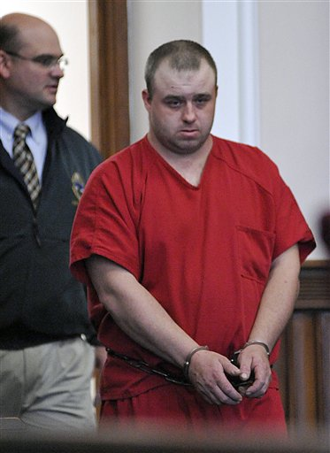 Allen Prue is led into court Wednesday, March 28, 2012 in St. Johnsbury, Vt. The snow plow driver and his wife are accused of assaulting and killing of a Vermont prep school teacher and dumping her naked body in the Connecticut rive. (AP Photo/Caledonian-Record, Michael Beniash, Pool)