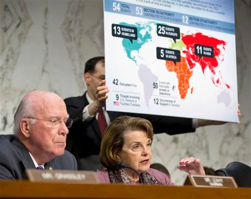 With a chart listing thwarted acts of terrorism, Senate Judiciary Committee Chairman Sen. Patrick Leahy, D-Vt., left, and Sen. Dianne Feinstein, D-Calif., right, chair of the Senate Intelligence Committee, question top Obama administration officials on Capitol Hill Wednesday.