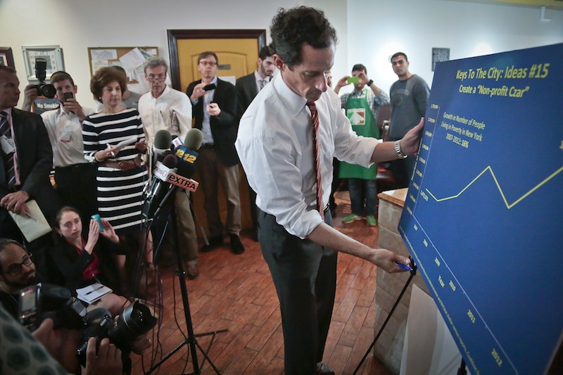 Anthony Weiner, New York mayoral candidate, displays a graphic during a news conference, Thursday, July 25, 2013, in New York. Weiner introduced his proposal for a