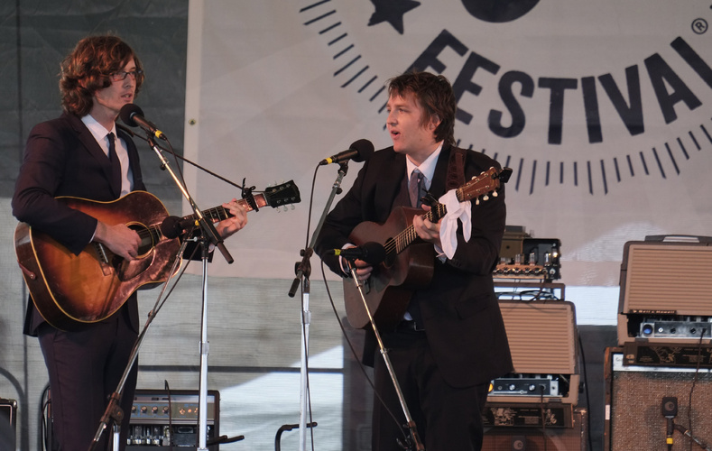 The Milk Carton Kids perform at the 54th edition of the Newport Folk Festival in Rhode Island on Friday.