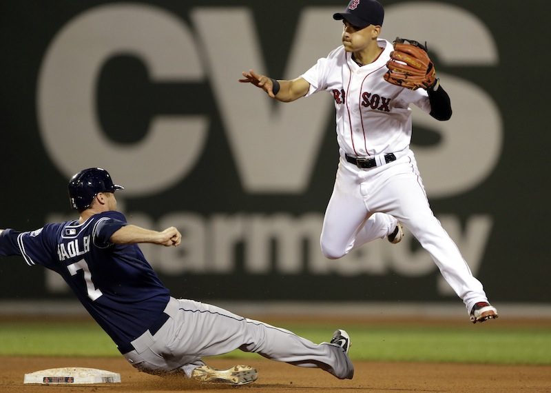 San Diego Padres' Chase Headley (7) tries unsuccessfully to break up a double-play turned by Boston Red Sox shortstop Jose Iglesias during the sixth inning of an interleague baseball game at Fenway Park in Boston, Wednesday, July 3, 2013. (AP Photo/Elise Amendola)