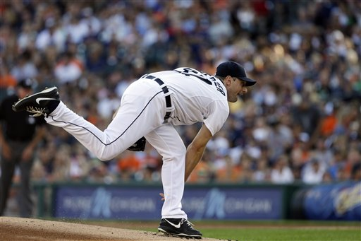 Detroit Tigers starting pitcher Max Scherzer throws during the first inning of a baseball game against the Texas Rangers in Detroit, Saturday, July 13, 2013.