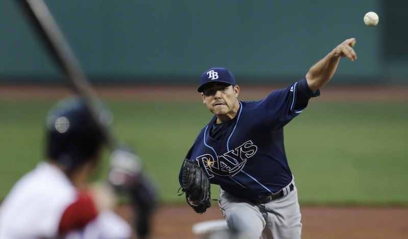 Tampa Bay Rays starting pitcher Matt Moore delivers to the Boston Red Sox during the first inning of a baseball game at Fenway Park, Monday, July 22, 2013, in Boston. (AP Photo/Charles Krupa)