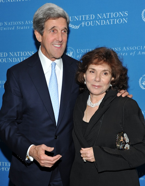 In a Nov. 18, 2010 file photo, Sen. John Kerry and wife Teresa Heinz Kerry attend the United Nations Foundation Annual Leadership Dinner at the Waldorf-Astoria Hotel in New York. A hospital spokesman says Teresa Heinz Kerry, the wife of U.S. Secretary of State John Kerry, is hospitalized Sunday, July 7, 2013 in critical but stable condition in a hospital on the island of Nantucket, Mass. (AP Photo/Evan Agostini, File) Half-Length
