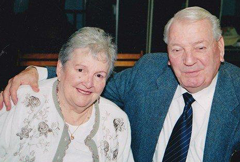 "Joseph E. ""Tim"" Dufour poses with his wife, the former Lauretta O'Brion, whom he married in 1947. She died last year."