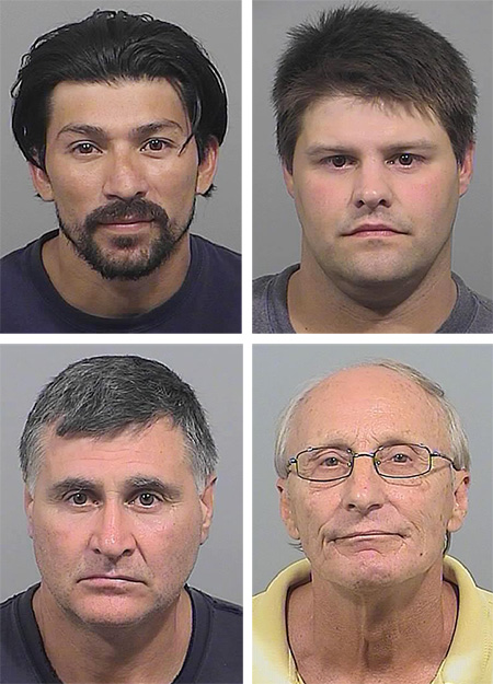Top row: Jose Menjiva, left, and Christopher Pierce; bottom row: Rumen Shopov, left, and Robert Flagg.