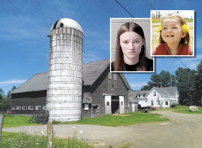Police allege that Leanna Norris, of Auburn, inset left, drugged and smothered her 2-year-old daughter, Loh Grenda, inset right, in late June. She drove to her parents' farmhouse at 879 Mount Pleasant Road in Stetson, background, where authorities later arrived and found Grenda dead in Norris' car, according to a police affidavit.