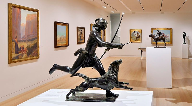 """Indian Hunter and His Dog"" by Paul Manship (circa 1926) is among the more than 500 pieces in the collection given to Colby by Peter and Paula Lunder."
