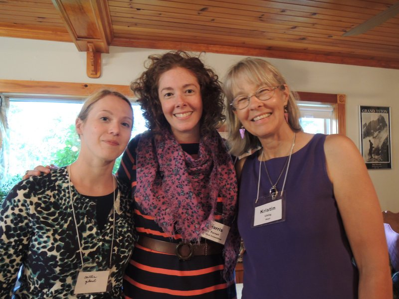 Toxics Action Center supporter Caitlin Gilmet, board member Harris Parnell and Kristin Uhlig, who hosted the annual Toxics Action Center party at her home in Gorham.