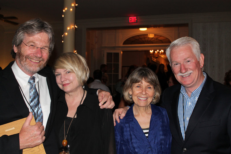 "Bill Nemitz of the Portland Press Herald/Maine Sunday Telegram, the Readers' Choice Award recipient for ""Best Print Columnist,"" and his wife, Andrea, take in the evening's festivities with Pam Green and her husband, Bill, of WCSH, who was the Readers' Choice ""TV Personality"" as host of ""Bill Green's Maine"" and ""The Green Outdoors."""
