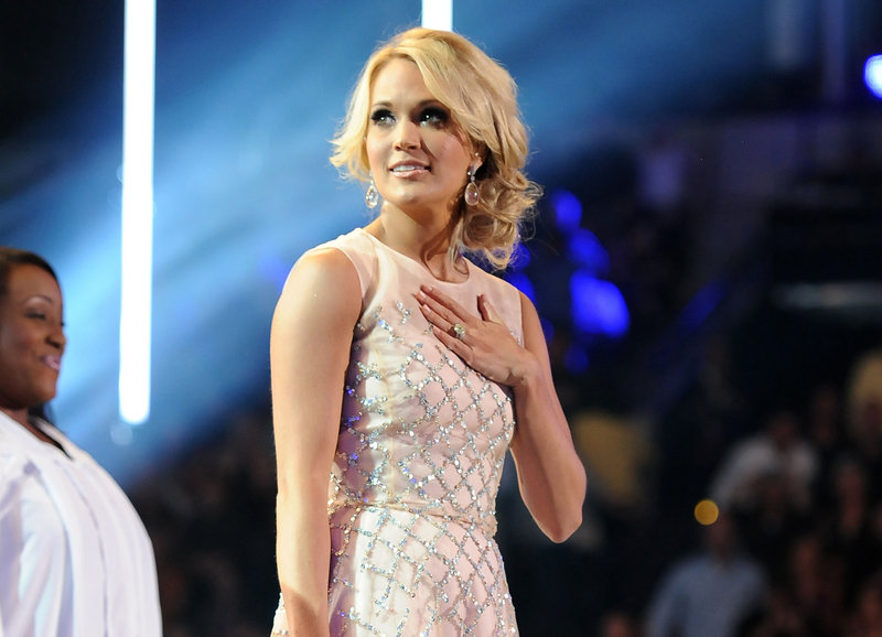 Carrie Underwood is shown at the CMT Music Awards at Bridgestone Arena in Nashville, Tenn., last month.