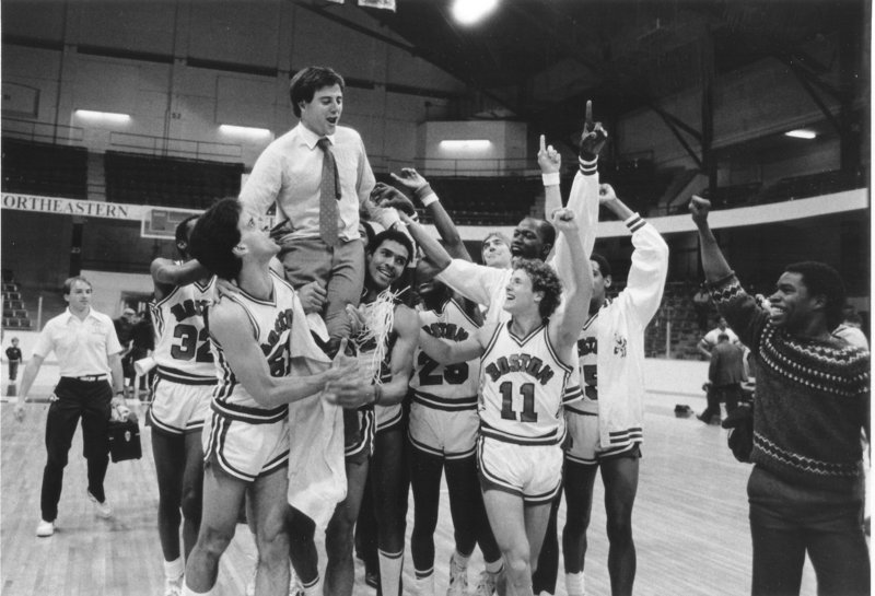 This 1983 photo was taken after Boston University defeated Holy Cross, 63-62, in the ECAC North title game to reach the NCAA tournament for the first time since 1959.