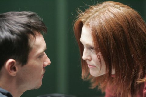"Jonathan Rhys Meyers and Julianne Moore in ""6 Souls."""