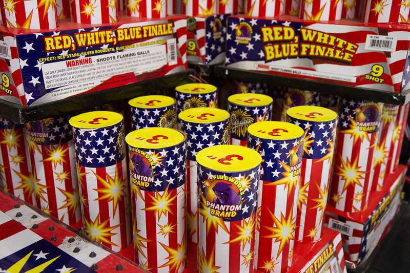 One of many varieties of fireworks stock the shelves at Phantom Fireworks in Scarborough on Tuesday, July 2, 2013.
