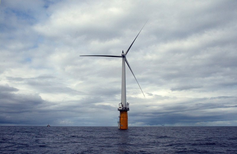 Statoil had planned to install floating wind turbines off Boothbay Harbor that would resemble this test turbine, now producing power off Norway. The firm is suspending its work in Maine until it's sure it has a deal to sell power here.