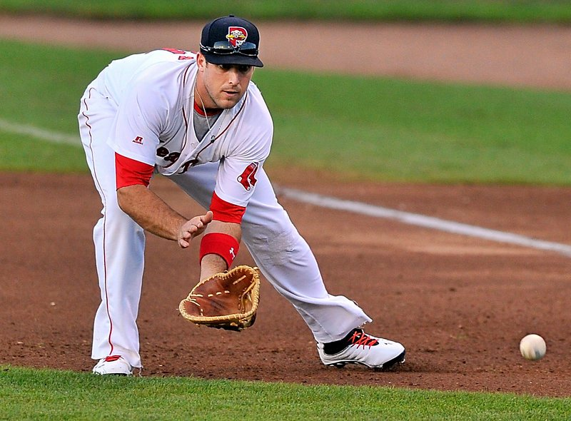 Travis Shaw of the Portland Sea Dogs prepares to snag a grounder Wednesday night, the start of a first baseman-to-shortstop-to-first baseman double play at Hadlock Field.