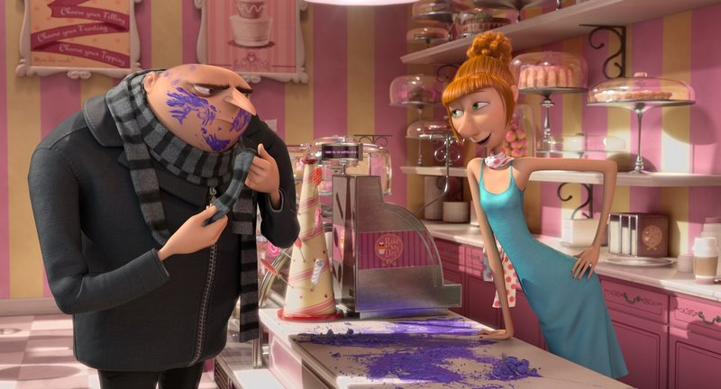 "Gru, voiced by Steve Carell, and Lucy Wilde, voiced by Kristin Wiig, in ""Despicable Me 2."""