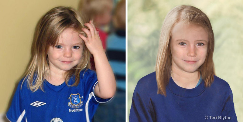 Madeleine McCann is shown at left at age 3, and an age progression image shows how she might look now.