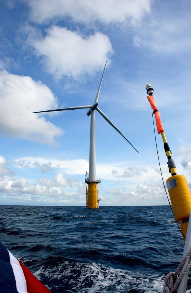 Statoil had planned to install floating wind turbines off Boothbay Harbor that would resemble this test turbine, now producing power off Norway. The Norwegian company is suspending its work in Maine until it's sure it has a deal to sell power here.