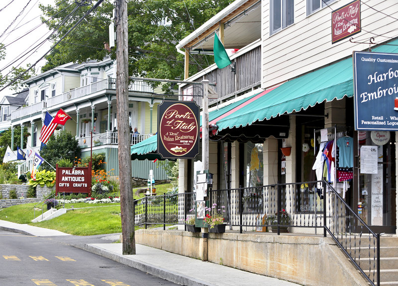 Ports of Italy, near the downtown waterfront in Boothbay Harbor, offers dining on a porch as well as in elegant indoor dining rooms. There is a small parking area behnd the restaurant.