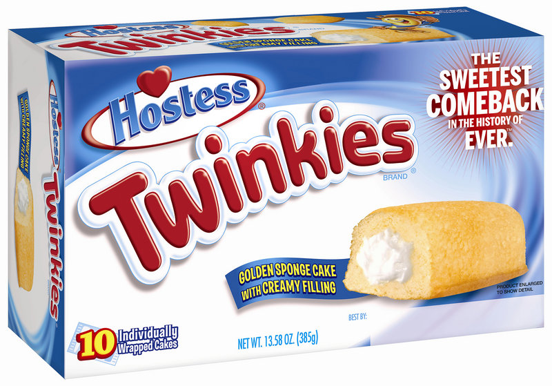 This undated image provided by Hostess Brands LLC shows a box of Twinkies. Twinkies will be back on shelves by July 15, 2013, after its predecessor company went bankrupt after an acrimonious fight with unions last year. The brands have since been purchased by Metropoulos & Co. and Apollo Global Management. (AP Photo/Hostess Brands)