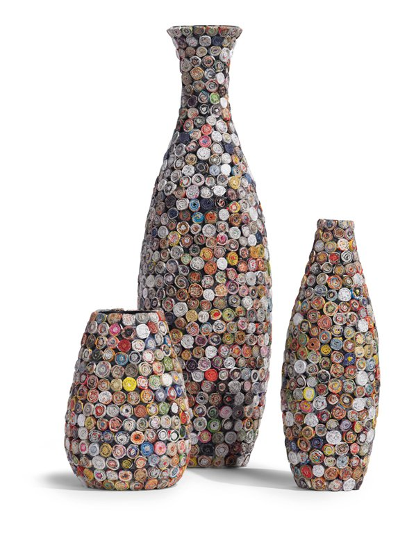 These vases and nesting boxes began as other paper products and were recycled into new life.