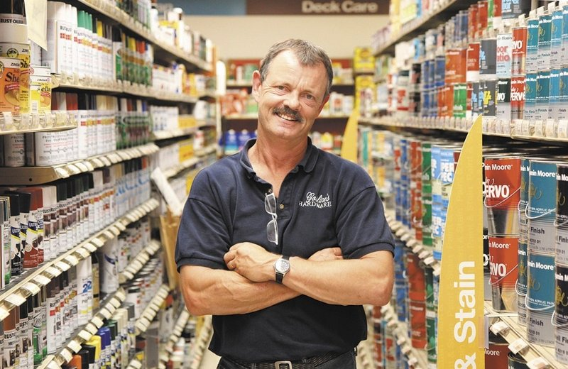 Gosline's Hardware store, owned by Tom Bolster, has been in business in Farmingdale for 27 years, with plans to be open for many more years despite other stores in Maine closing.