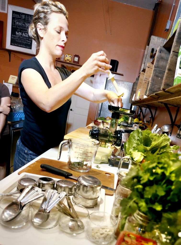 "Kathleen Flanagan, co-owner of the Roost House of Juice in Portland, whips up a concoction with greens. ""Everybody's talking about kale, kale, kale,"" she says. Kale, which is related to broccoli, cabbage and Brussels sprouts, is one of the highest-rated ""superfoods."