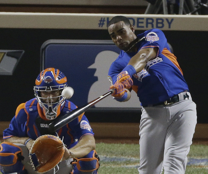 Yoenis Cespedes launches one of his 32 homers en route to winning the Home Run Derby. In the first round, he slugged 17 – more than any other player managed in their first two rounds.