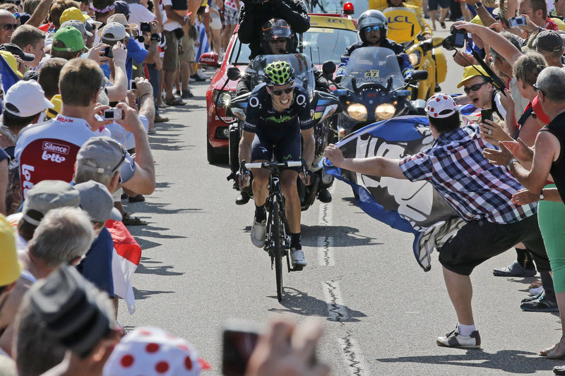 Rui Costa of Portugal climbs Manse Pass on Tuesday before going on to win the 16th stage of the Tour de France. With five stages left, Chris Froome has a commanding lead.