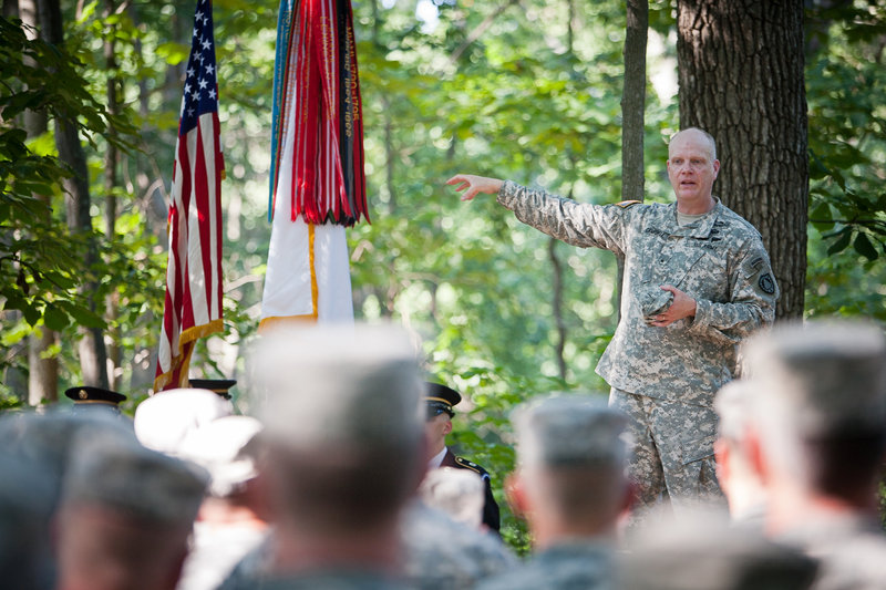 "Brig. Gen. James Campbell, adjutant general of the Maine National Guard, makes remarks Wednesday in Gettysburg, Pa. ""Citizen soldiers, throughout the history of this country, have kept this nation united and free,"" he said."