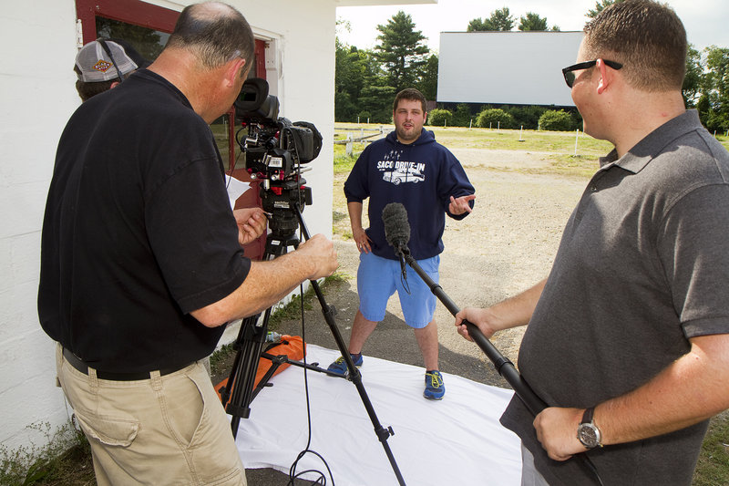 Saco Drive-In manager Ryan Russell is interviewed on the drive-in grounds as part of a Honda sponsored project to help save American drive-in theaters.