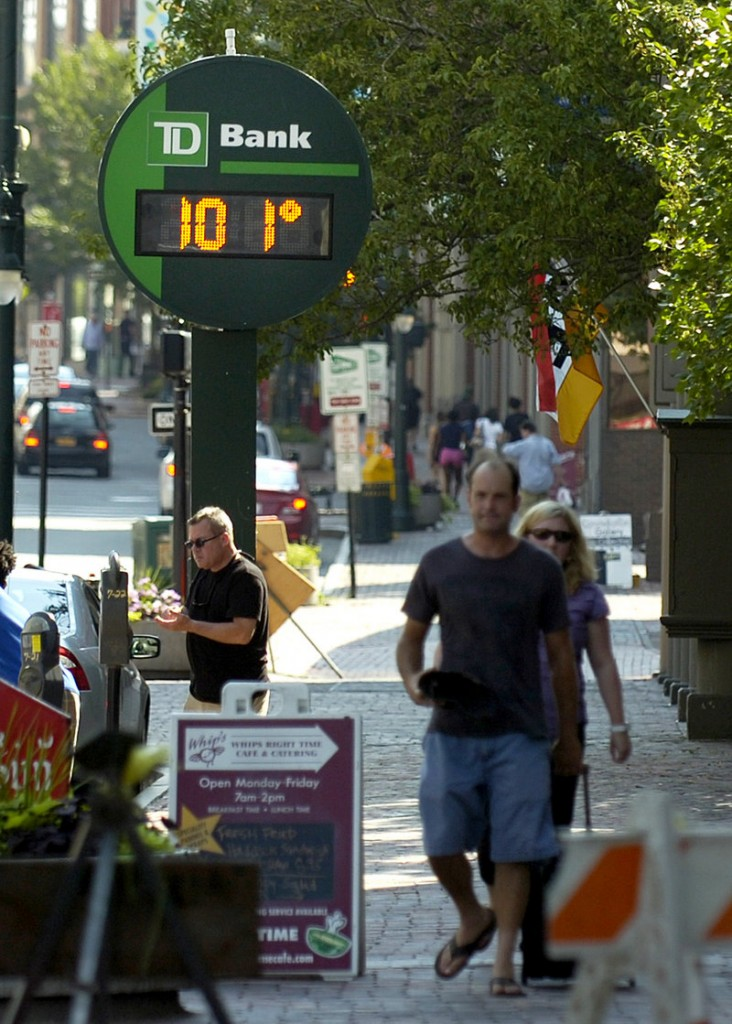 The TD Bank thermometer on Congress Street in Portland showed a scorching temperature of 101 late Friday afternoon, although the officially recorded high temperature in Portland was 95. It was still high enough to set a new record.