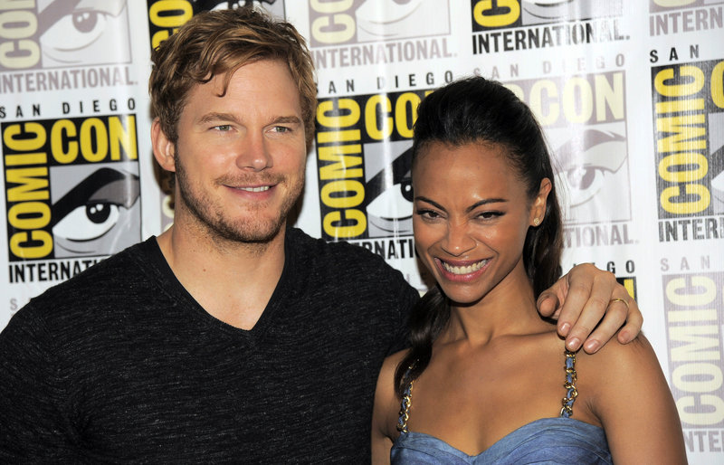 Chris Pratt, left, and Zoe Saldana pose at Comic-Con on Saturday in San Diego. The two star in Marvel's