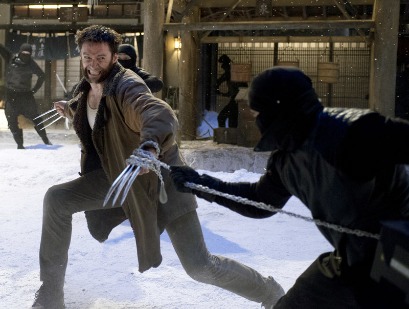 Hugh Jackman as Logan the Wolverine gives the Adamantium knives in his fists a workout in his new movie.