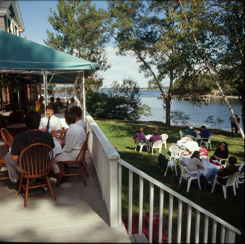 Diamond's Edge restaurant on Great Diamond Island in Casco Bay is reachable by Casco Bay Lines ferries.