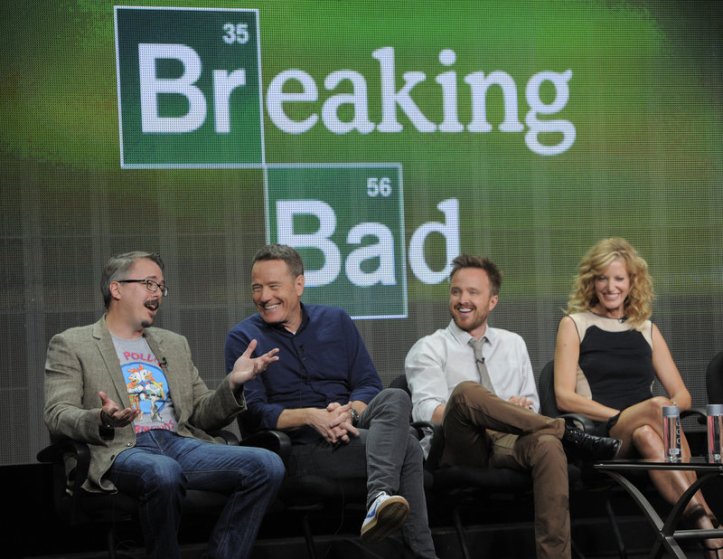 "Vince Gilligan, left, creator of ""Breaking Bad,"" takes part in a panel discussion with cast members Bryan Cranston, center, and Aaron Paul on Friday in Beverly Hills, Calif."