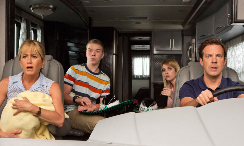 "Jennifer Anniston, Will Poulter, Emma Roberts and Jason Sudeikis in the new comedy ""We're the Millers."""