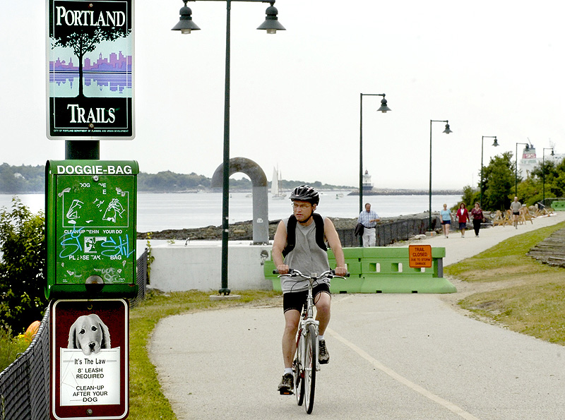 The Eastern Prom Trail is heavily used for walking, running, cycling, skateboarding, roller skating and seeking out water views.