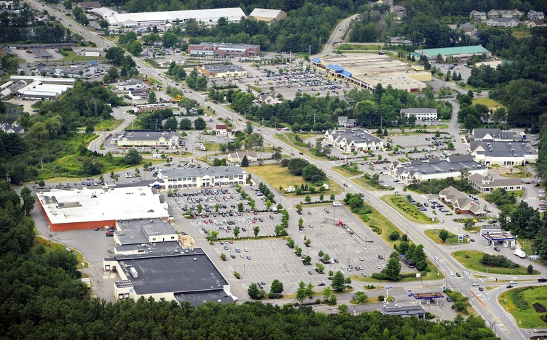 An aerial view of the Falmouth business district, including Walmart, at upper right.
