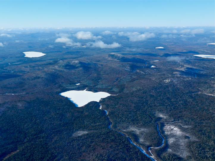 Bald Mountain, with Greenlaw Pond in the foreground, is owned by JD Irving of New Brunswick, which is considering mining the property for gold, silver and copper deposits.