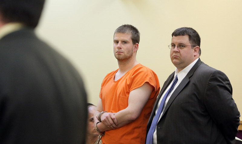Bryan Wood and his attorney Steven Carey appear for Wood's arraignment in Lewiston District Court in this May 13, 2013, photo.