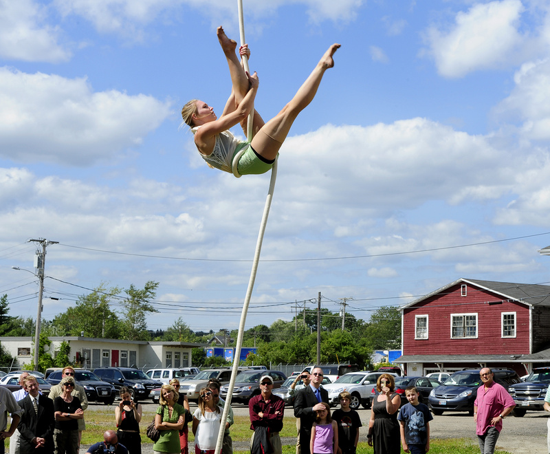 Kia-Melinda Eastman performs Thursday after the announcement that the fledgling nonprofit Circus Conservatory of America plans to open a college-level circus school in 2015 at Thompson's Point in Portland.