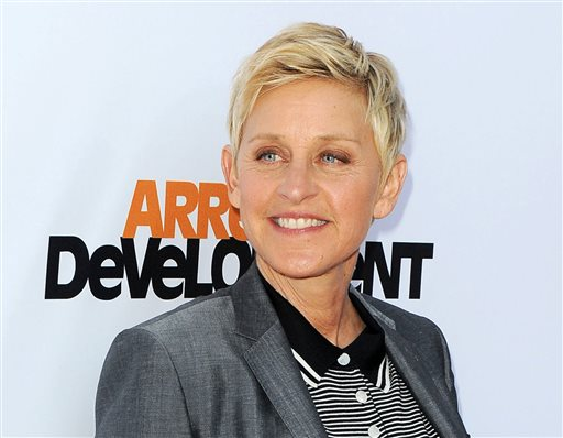 In this April 29, 2013 file photo, TV host Ellen DeGeneres arrives at the season 4 premiere of