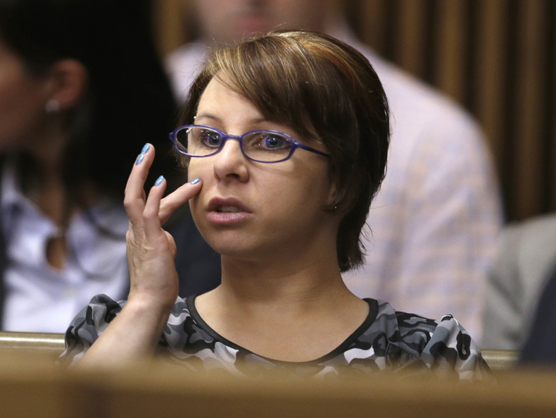 Michelle Knight sits in the courtroom during a break in Ariel Castro's sentencing hearing Thursday in Cleveland. Knight is the only victim to testify and Thursday was the first time she'd been seen publicly since her rescue from the house where she was held captive for 10 years.