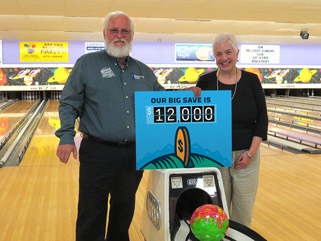 <strong>Striking it rich. </strong> Sparetime Recreation bowling alley owner Andy Couture has made the switch to natural gas, and he knows the savings are really going to add up.