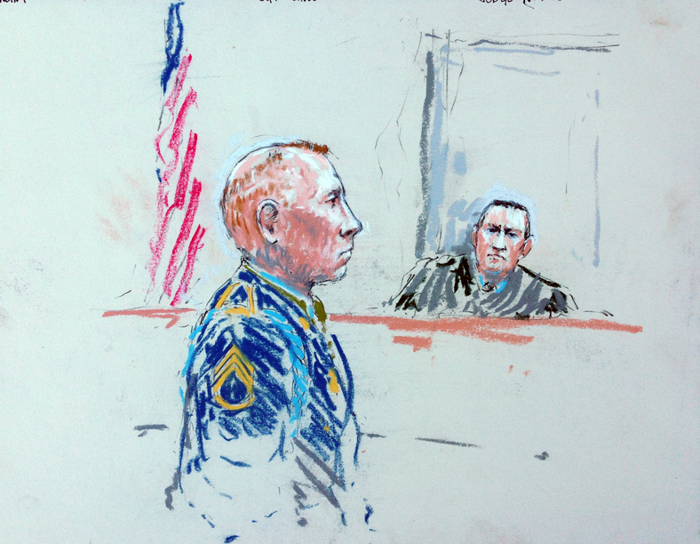 In this courtroom sketch, Staff Sgt. Robert Bales appears before Judge Col. Jeffery Nance in a courtroom at Joint Base Lewis-McChord, Wash., on Tuesday during a sentencing hearing in the slayings of 16 Afghan civilians.