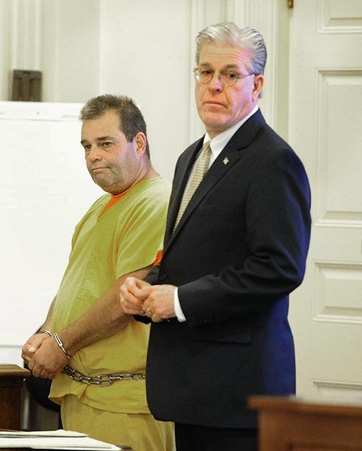 David Labonte stands with his attorney William Trafidlo during his initial appearance in the York County Superior Court in Alfred on Monday, August 12, 2013. Labonte struck a family of three with his truck in Biddeford earlier this month resulting in the death of the father. He is charged of manslaughter and drunken driving.